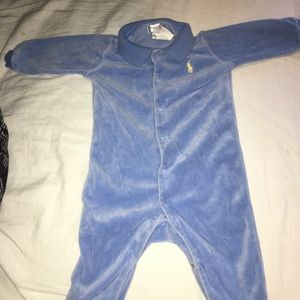 Blue polo onesie